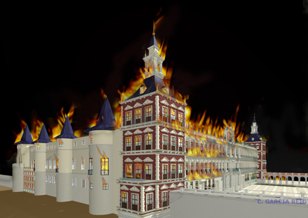 Reconstrução virtual do incêndio do Alcázar de Madrid